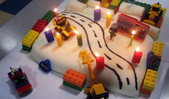 Lego Birthday Cake Using Chocolate Mold Legos