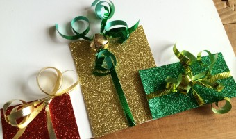 Handmade Christmas Cards Made From Glitter Scrapbook Paper